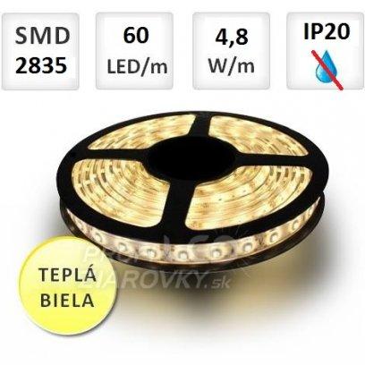 1M LED PÁSIK 60 SMD2835 4,8W TEPLÁ BIELA, IP20