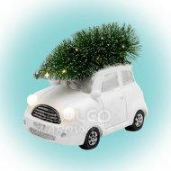 Keramická figúrka, biele autíčko so ...