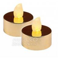 LED čajová sviečka, lesklá zlatá, 2k...
