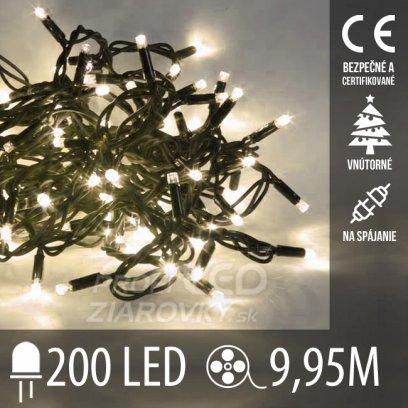 Vianočná LED svetelná reťaz na spájanie vnútorná - 200LED - 9,95M Teplá biela