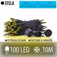 STELA spojovateľná LED svetelná reťaz vonkajšia - 100LED - 10M Teplá biela