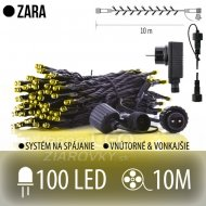 Zara spojovateľná led štartovacia súprava - svetelná reťaz + adapter - vonkajšia - 100led - 10m teplá biela