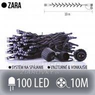 Zara spojovateľná led svetelná reťaz vonkajšia - 100led - 10m studená biela