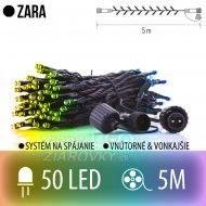 ZARA spojovateľná LED svetelná reťaz vonkajšia - 50LED - 5M Multicolour