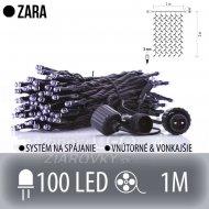 ZARA spojovateľný LED svetelný záves vonkajší - 100LED - 1M Studená biela