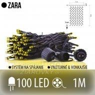 ZARA spojovateľný LED svetelný záves vonkajší - 100LED - 1M Teplá biela
