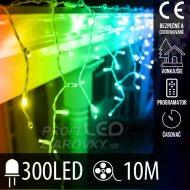 Vianočná LED svetelná záclona vonkajšia - programy - časovač - 300LED - 10M Multicolour