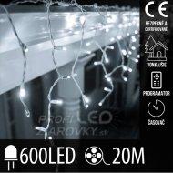 Vianočná led svetelná záclona vonkajšia - programy - časovač - 600led - 20m studená biela