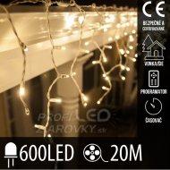 Vianočná led svetelná záclona vonkajšia - programy - časovač - 600led - 20m teplá biela