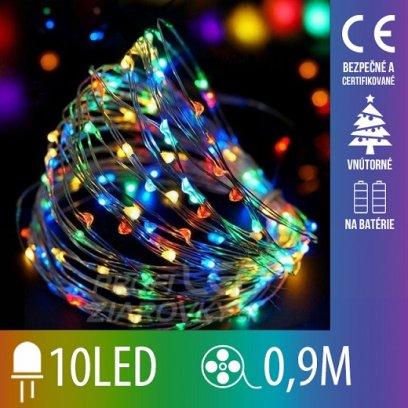 Vianočná led svetelná mikro reťaz na batérie - 10led - 0,9m multicolour