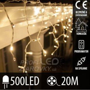 Vianočná led svetelná záclona na spájanie vonkajšia - programy - 500led - 20m teplá biela