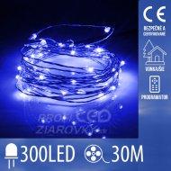 Vianočná led svetelná mikro reťaz vonkajšia + programator - 300led - 30m modrá