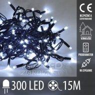 Vianočná led svetelná reťaz vonkajšia - na spájanie + programator - 300led - 15m Studená biela