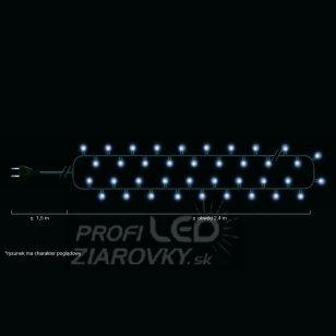 Vianočná LED svetelná reťaz vnútorná - 50LED - 2,45M Studená Biela
