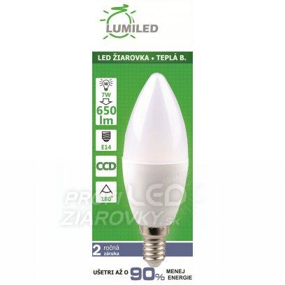 LED ŽIAROVKA E14 7W  SMD2835 TEPLÁ BIELA,  650 LM