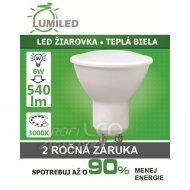 LED ŽIAROVKA GU10 SMD 2835 6W TEPLÁ ...