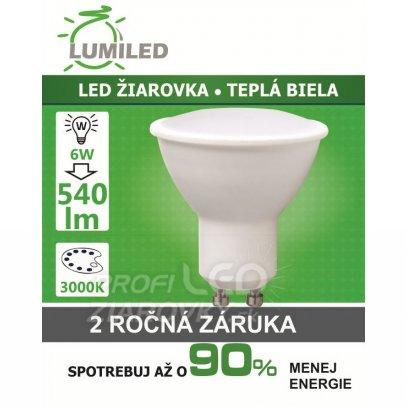 LED ŽIAROVKA GU10 SMD 2835 6W TEPLÁ BIELA