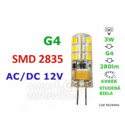 LED ŽIAROVKA G4 3W 24SMD 2835 STUDENÁ BIELA 280LM 12V AC-DC