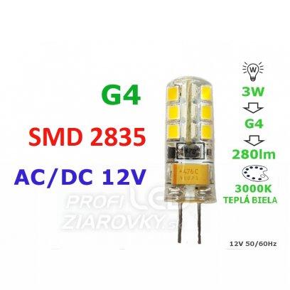 LED ŽIAROVKA G4  3W 24SMD 2835 TEPLÁ BIELA 280LM 12V AC-DC