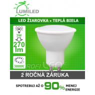 LED ŽIAROVKA GU10 SMD 2835 3W TEPLÁ BIELA