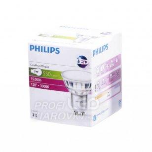 Led žiarovka gu10 philips, 5w - teplá biela