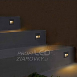 Zapustené LED schodové svietidlo 3W 45lm 4000K sivé Q7 Polux