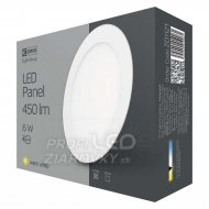 Led stropné vstavané svietidlo kruh 6w ip20 teplá biela