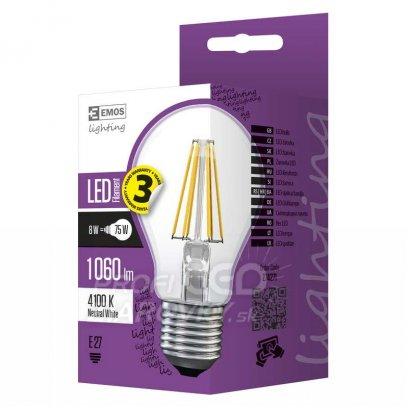LED žiarovka filament A60 A++ 8W E27 neutrálna biela