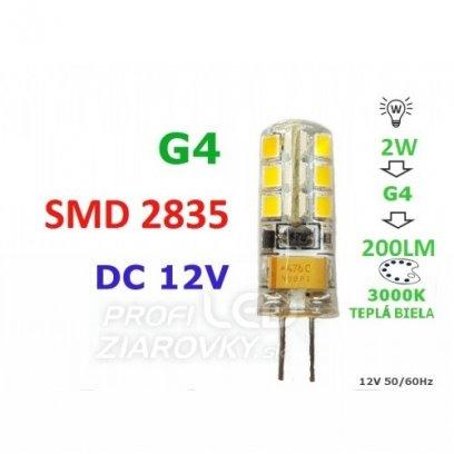 LED ŽIAROVKA G4  2W 24SMD 2835 TEPLÁ BIELA 200LM 12V DC