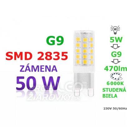 LED ŽIAROVKA G9 5W STUDENÁ BIELA 33 SMD 2835 230V