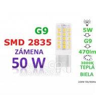 LED ŽIAROVKA G9 5W TEPLÁ BIELA 33 SMD 2835 230V ...