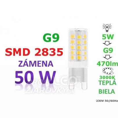 LED ŽIAROVKA G9 5W TEPLÁ BIELA 33 SMD 2835 230V