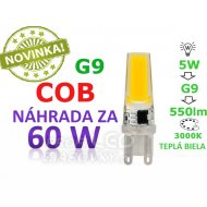 LED ŽIAROVKA G9 COB 5W TEPLÁ BIELA 550...