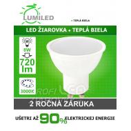 LED ŽIAROVKA GU10 SMD 2835 8W TEPLÁ BIELA...