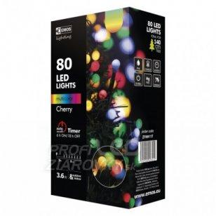 Led vianočná cherry reťaz – guľôčky, 8m, multicolor, časovač