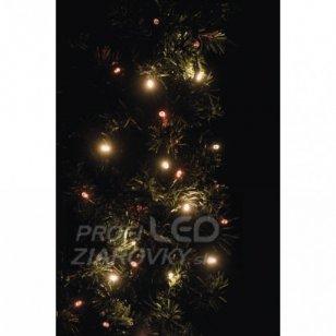 Led vianočná reťaz pulzujúca, 12m, jantarová/červená, čas.