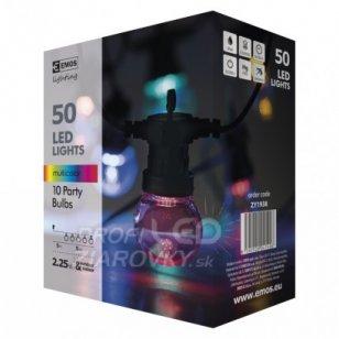 Led svetelná reťaz – 10× párty žiarovky, 5m, multicolor