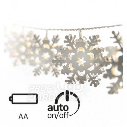 Led vianočná girlanda – vločky kovové, 3× aa, teplá b., čas.