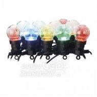 LED svetelná reťaz – 10x párty žiarovky, 5 m, vonkajšia aj vnútorná, multicolor