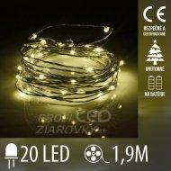Vianočná led svetelná mikro reťaz vnútorná na batérie - 20led - 1,90m teplá biela