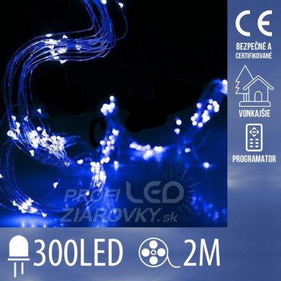 Vianočná led svetelná mikro reťaz vonkajšia + programator - anjelské vlasy 15 liniek - 300led - 2m modrá