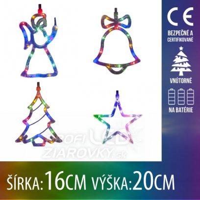 Vianočná LED svetelná ozdoba vnútorná - na batérie - Anjel, Zvonček, Stromček, Hviezda - 16x20CM - Multicolour