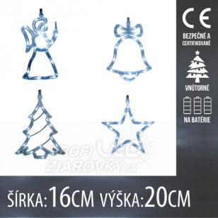 Vianočná LED svetelná ozdoba vnútorná - na batérie - Anjel, Zvonček, Stromček, Hviezda - 16x20CM - Studená biela
