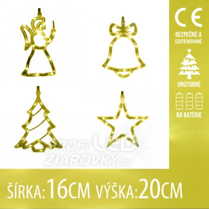 Vianočná LED svetelná ozdoba vnútorná - na batérie - Anjel, Zvonček, Stromček, Hviezda - 16x20CM - Teplá biela
