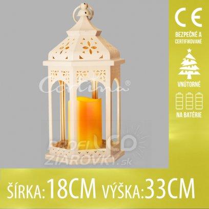 Vianočná LED svetelná ozdoba vnútorná - na batérie - Lampáš so sviečkou svetlý - 18x33CM - Teplá biela