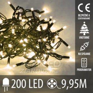 Vianočná LED svetelná reťaz na spájanie vnútorná + programy - 200LED - 9,95M Teplá biela