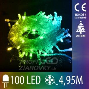 Vianočná LED svetelná reťaz vnútorná s priesvitným káblom - 100LED - 4,95M Multicolour