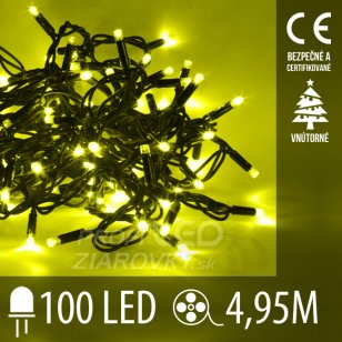 Vianočná LED svetelná reťaz vnútorná - 100LED - 4,95M Žltá
