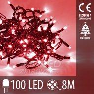 Vianočná led svetelná reťaz vnútorná - 100led - 8m červená