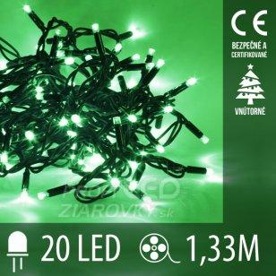 Vianočná LED svetelná reťaz vnútorná - 20LED - 1,33M Zelená